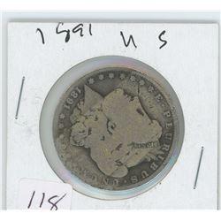 1891 AMERICAN MORGAN SILVER DOLLAR