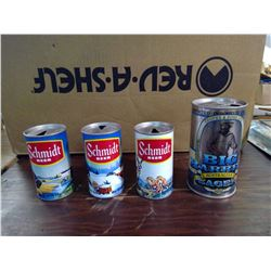 4 VINTAGE BEER CANS