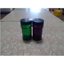 VINATGE DAVAR GREEN AND PURPLE SPICE CONTAINERS