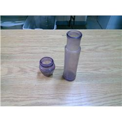 2 PURPLE GLASS BOTTLES