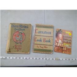 1915 FIVE ROSES AND 1937 CARNATION COOKBOOKS AND WATKINS HOW TO USE SPICES BOOK