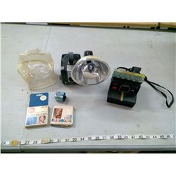 BROWNIE HAWKEYE AND POLAROID CAMERA WITH FILM AND OTHER ACCESSORIES