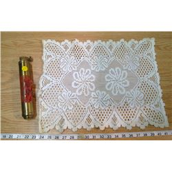 FIRE EXTINGUISHER AND DOILY CENTERPIECE