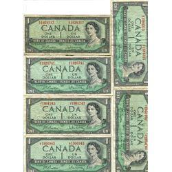 CANADA 1954 STACK OF $1 BILLS (10)