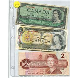 CANADA BILLS PAGE $1 (1954), $1 (1973), $2 (1986)