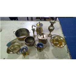 LOT OF BRASS VASES/BASKETS/CONTAINERS