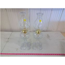 GLASS KEROSENE LAMP W/ CIRCUS ART