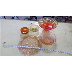 ORANGE GLASSWARE (CARNIVAL GLASS)