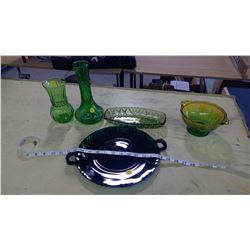 GREEN GLASSWARE (CARNIVAL GLASS)