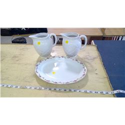 MILK GLASS PITCHERS AND PORCELAIN PLATE