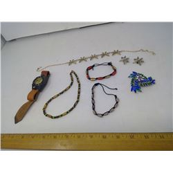 WODEN BEAD NECKLACES, BRACELETS, COMPASS WATCH, BROOCH, AND LEAF NECKLACE WITH MATCHING EARRINGS