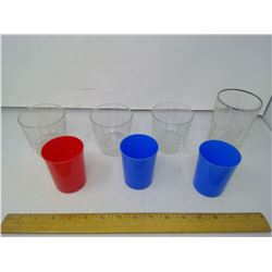 4 GLASSES AND 3 PLASTIC CUPS
