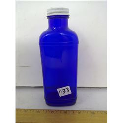 1950 'MILK OF MAGNESIA' 7 1/2  HIGH COBALT BLUE GLASS BOTTLE