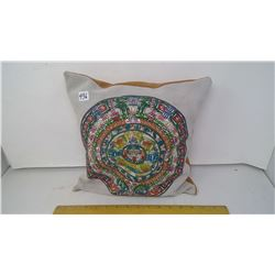"ANCIENT MAYAN CALENDAR PAINTED ON PIG SKIN - 12"" SQUARE CUSHION"