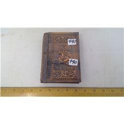 "1954 STAMPED METAL HINGED PLAYING CARD 2 DECK BOX ""THE JOKER"""