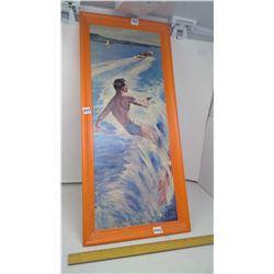 "1965 LITHO PRINT 'WATER SKIER' IN ORIGINAL 1965 ORANGE PLASTIC FRAME - 27"""