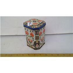 """1940 TOFFEE VINTAGE METAL TIN HINGED LID 5"""" HEIGHT"""