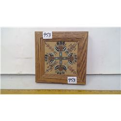 "1982 NAVAJO GENUINE SAND PAINTING '4 DIRECTIONS' OAK FRAME 6"" SQUARE"
