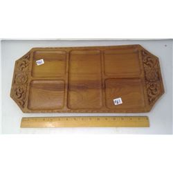 "1980 THAILAND 20"" LONG GOLDEN TEAK CARVED WOODEN TRAY - 3/4"" THICK"