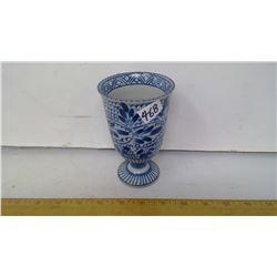 "1960 VIETNAM DEFIT COBALT CERAMIC DRINKING GLASS - HEIGHT 5 1/2"""