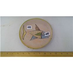 1980 ITALY 'ETRUSCAN FISH' HANDMADE AND PAINTED DISH