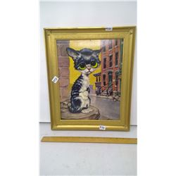 "1971 ""PITY KITTY"" BY GIG - LITHOPRINT IN ORIGINAL 1971 GOLD PLASTIC FRAME - 17"" HEIGHT"