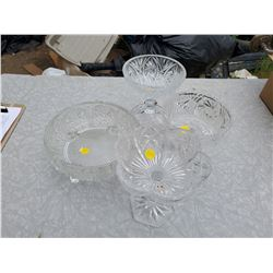 4 CRYSTAL DISHES