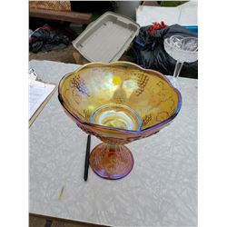 CARNIVAL GLASS STANDING BOWL