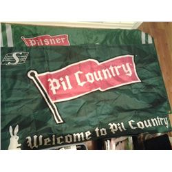 2 SASK. ROUGHRIDERS/PILSNER FLAGS