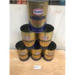 6 TEXACO - HAVO LINE OIL TINS