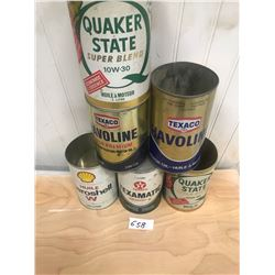 6 OIL CONTAINERS - TEXACO, SHELL, QUAKER STATE - 3 TIN AND 3 CARDBOARD