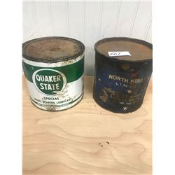 2 GREASE TINS - QUAKER STATE AND NORTH STAR OIL - AS FOUND