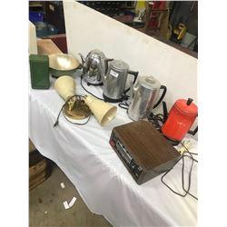 8 1970S COFFEE POTS, 8 TRACKS, LAMP, ETC.