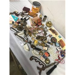 JUNK DRAWER OF COLLECTIBLES, HARDWARE, KNIVES, HINGES, ETC.