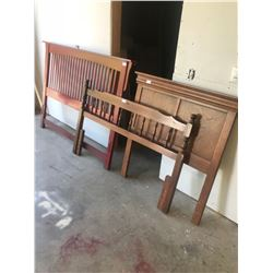 """3 WOODEN HEADBOARDS - 2 - 60"""" AND 1 - 39"""""""