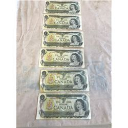 6 1 DOLLAR BILLS 1973