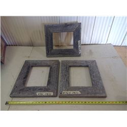 """3 WOODEN PICTURE FRAMES FOR 8 1/2 X 11 AND 8X10"""" (2X 17"""" X 14 1/2"""" AND 16"""" X 14 1/4"""")"""