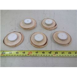 5X HOMEMADE WOODEN CANDLE HOLDERS