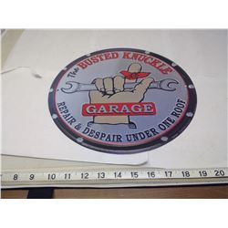 BUSTED KNUCKLE GARAGE 12 INCH TIN SIGN