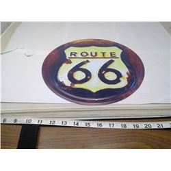ROUTE 66 12 INCH TIN SIGN BACK IS POCK MARKED