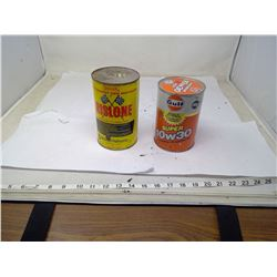 2 VINTAGE OIL CANS FULL