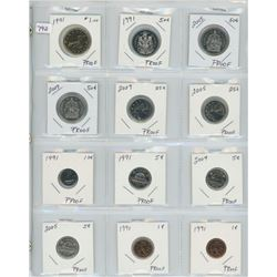"PAGE OF 12 ASST COINS ""PROOF"" QUALITY ROYAL CANADIAN MINT"