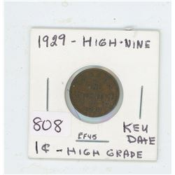 1929 ONE CENT (HIGH NINE, KEY DATE)