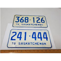 TWO 1976 LICENSE PLATES