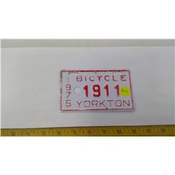 1975- 1911 YORKTON BICYCLE PLATE
