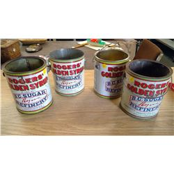 LOT OF 4 ROGERS GOLDEN SYRUP PAILS