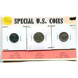 3 US COINS - STEEL CENT, BUFF. NICKEL, MERCURY DIME
