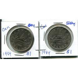 2 - 1984 CANADIAN $1.00 PIECES