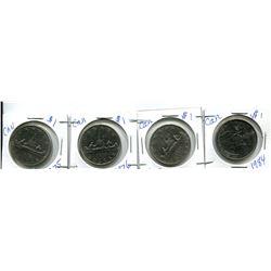4 CANADIAN $1 - 1984, 2X 1975, 1976