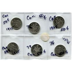 6X 50 CENT CANADIAN COINS - 2X 1976, 1968, 1978, 1975, 1979